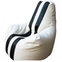 Кресло-мешок Спортинг экокожа с полосками белое
