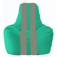 Кресло-мешок Спортинг бирюзовый - серый С1.1-292