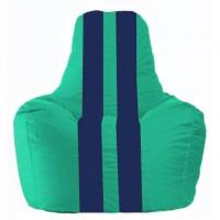 Кресло-мешок Спортинг бирюзовый - тёмно-синий С1.1-286