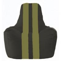 Кресло-мешок Спортинг чёрный - оливковый С1.1-399