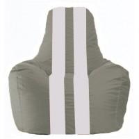 Кресло-мешок Спортинг серый - белый С1.1-324