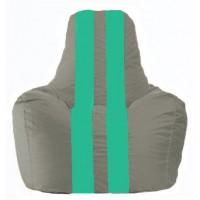 Кресло-мешок Спортинг серый - бирюзовый С1.1-335