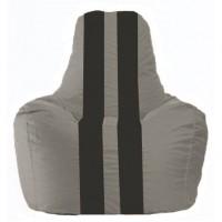 Кресло-мешок Спортинг серый - чёрный С1.1-354