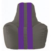 Кресло-мешок Спортинг серый - фиолетовый С1.1-352