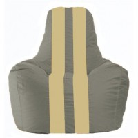 Кресло-мешок Спортинг серый - светло-бежевый С1.1-344
