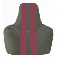 Кресло-мешок Спортинг тёмно-серый - бордовый С1.1-358
