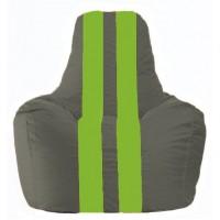 Кресло-мешок Спортинг тёмно-серый - салатовый С1.1-356