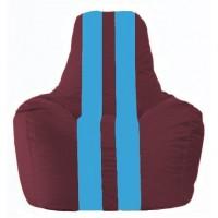 Кресло-мешок Спортинг бордовый - голубой С1.1-310