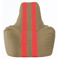 Кресло-мешок Спортинг бежевый - красный С1.1-92