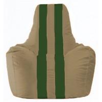 Кресло-мешок Спортинг бежевый - тёмно-зелёный С1.1-83