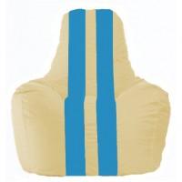 Кресло-мешок Спортинг светло-бежевый - голубой С1.1-149