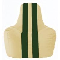 Кресло-мешок Спортинг светло-бежевый - тёмно-зелёный С1.1-137