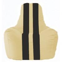 Кресло-мешок Спортинг светло-бежевый - чёрный С1.1-130