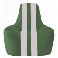 Кресло-мешок Спортинг тёмно-зелёный - белый  С1.1-76