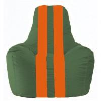 Кресло-мешок Спортинг тёмно-зелёный - оранжевый С1.1-64