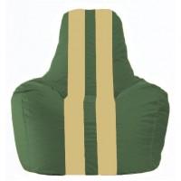 Кресло-мешок Спортинг тёмно-зелёный - светло-бежевый С1.1-62