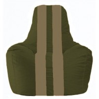 Кресло-мешок Спортинг тёмно-оливковый - бежевый С1.1-52