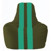 Кресло-мешок Спортинг тёмно-оливковый - бирюзовый С1.1-58