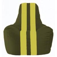 Кресло-мешок Спортинг тёмно-оливковый - жёлтый С1.1-57