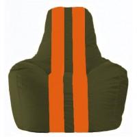 Кресло-мешок Спортинг тёмно-оливковый - оранжевый С1.1-56